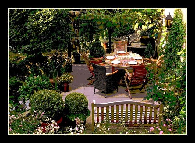 terasa na zahradě